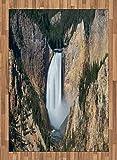 ABAKUHAUS Wyoming Moquette Tessuta Piatta, Gran Canyon di Yellowstone, per Soggiorno Camera da Letto Sala da Pranzo, 160 x 230 cm, Scuro Marrone Sabbia Cacciatore Verde E Bianco