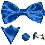 GASSANI 3-SET Royal-Blaues Fliegenset | Fliege Manschettenknöpfe Einstecktuch | Royal-Blaue Schleife zum Anzug