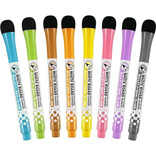 8 Stücke Magnetische Trocken Löschen Marker Bunte Whiteboard Marker Stift Set für Board Kühlschrank, 8 Farben (Marker Board Kühlschrank)