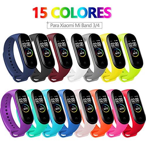 Bangting 15 PCS Correa Compatible con Pulseras Xiaomi Mi Band 3 / 4, Correas para Fundas Mi Fit Band 4 My Band 3 Inteligente Funda Miband3 Pulsera Reloj Silicona Banda Reemplazo
