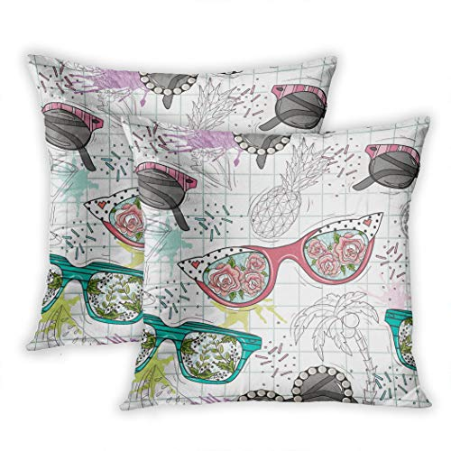Nekkzi Cushion Covers Set of Two Print Colorful Flower Cute Summer Abstract Pattern Sunglasses Fun Hipster Pink Sofa Home Decorative Throw Pillow Cover 20x20 Inch Pillowcase Hidden Zipper