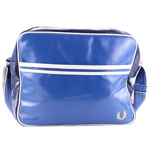 Fred Perry Classic Shoulder Unisex Zip Synthetic Leather Messenger Bags Blue