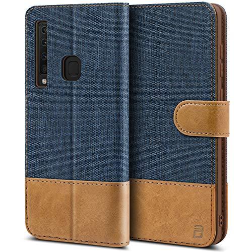 BEZ® Handyhülle für Samsung Galaxy A9 2018 Hülle, Tasche Kompatibel für Samsung Galaxy A9 2018, Handytasche Schutzhülle [Stoff und PU Leder] mit Kreditkartenhalter, Blaue Marine