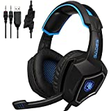 2016 Latest Sades SPIRITWOLF 3. 5mm Version PC Over-Ear Stereo Gaming Headset Headband Headphones with Mic, Noise Reduction, Volume Control, LED Light For Computer Gamers(Black Blue)