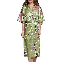 Dolamen Donna Kimono Vestaglia Pigiama Sleepwear, Raso di seta del pavone e fiori Robe Accappatoio damigella d'onore da notte Pigiama, stile lungo