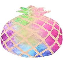 Toalla de Playa Redonda Cebbay Estilo Mandala Indio, algodón,Cojín Estampado de Frutas.