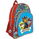 mochila infantil 23x31x13cm PAW PATROL con los personajes de serieTV (borde rojo), y set 5 lápices paw patrol original
