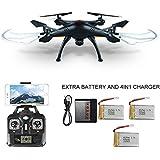 SYMA X5SW Quadcopter (Besser als X5C) UFO Explorers 2 HD Camera 2.4GHz 4 Kanal 6 Axis 3D Flip Flight UFO 2016 Neueste Mit 3 * 650 mAh Akkus, und 4 in 1 Ladegerät (X5SW schwarz)