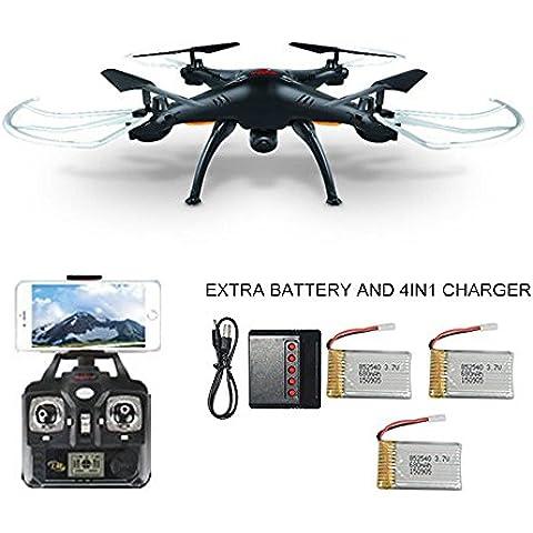 Syma X5SW(mejor que X5C)4CH 2.4G 6-Axis Gyro Headless Soporte Teléfono Apple IOS Android Wi-Fi Wifi Control FPV HD de 2,0 MP Cámara de 360 grados en 3D Modo de rodadura 2 RTF RC Quadcopter con cámara de alta definición,3 * baterías adicionales y 4in1 cargador