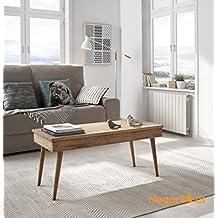 Hogar24-Mesa de centro elevable diseño vintage, madera maciza natural, fabricación artesanal. 100cm x 50cm x 47cm