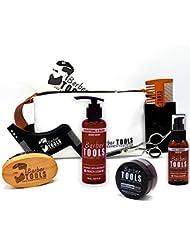 ✮ BARBER TOOLS ✮ Kit / Set / Coffret d'entretien et de soin pour barbe. Peigne barbe + Brosse barbe 100% en poils de sanglier + Ciseaux professionnels de barbe + Peigne barbe pochoir + Huile à barbe 50ml + Baume à barbe 50ml + Shampoing à barbe 150ml + grand sac de rangement avec sa fermeture zippée. Le cadeau idéal pour les hommes barbus.
