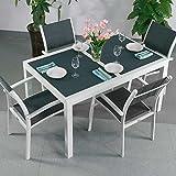 Mesa Daisy de 4sillas | juego extensible de muebles para uso exterior de 200cm, aluminio, Blanco y gris, Milly Chairs