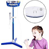 MRKE Micro Karaoke Niños Bluetooth Ajustable Portatil Karaoke Infantil con 2 Microfonos Juguete de Instrumentos Musicales Regalo para Infantil Niño y Niña 3-10 Años (Azul)