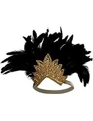 BABEYOND Damen Stirnband 1920 Stirnband Gold Schwarz Feder Kopfschmuck Kristall Haar Accessoires Party Headwear