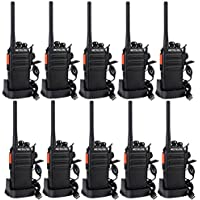 Retevis RT24 Walkie Talkies PMR446 License-free Two Way Radio 16 Channels VOX Scan TOT with USB Charger and Earpieces (Black, 5 Pairs)