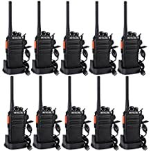 Retevis RT24 Plus Walkie Talkie UHF PMR446 16 Canales Carga USB Largo Alcance (Negro, 10 Pcs)