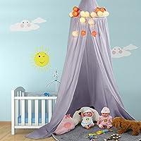 Cama Dosel baldaquino de algodón Lienzo Deko baldaquino para habitación de los Niños Baby Cama Cielo también como protección mosquitos Buena circulación del aire, con herramientas de instalación, altura 235cm gris gris