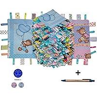 Baby Gift Taggies Keepsake 100% cotone Handmade Comfort Coperta Security Blanket - Baby Boy Blue Taglet