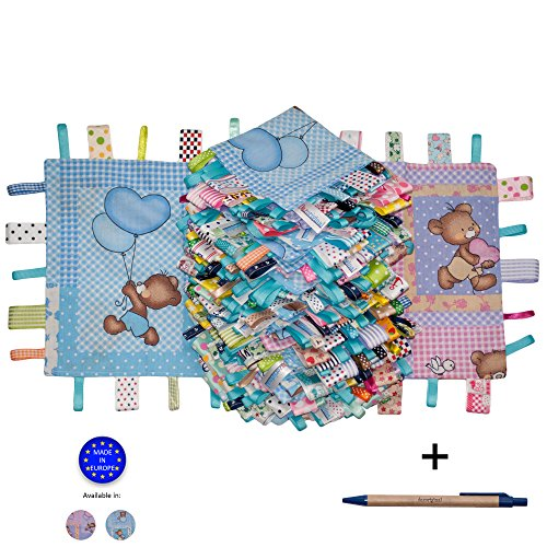 Dazoriginal Baby Gift Taggies Keepsake 100 Cotton Handmade Comfort Blanket Security Blanket - Baby Girl Pink Taglet (Pink 20 Tags)