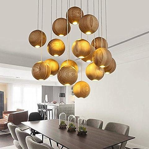 Fx@ La manera creativa de la lámpara de madera maciza cubierta de madera ligero de habitaciones Hotel Restaurant colgante de dormitorio de la lámpara , 16
