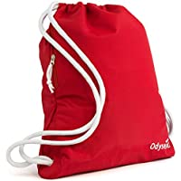 Odyseaco Deluxe Drawstring Gym Bag- Waterproof Swimming Bag With Large Zip Pocket Best For School, PE & Sports, Drawstring Backpack