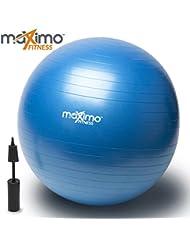 Ballon d'Exercice / Exercise Ball avec Pompe à Main par Maximo Fitness | Qualité Supérieure | Parfait pour l'Entrainement Visant la Stabilité, l'Entraînement de Noyau, l'Equilibre de Corps, le Pilates, CrossFit | Matériau PVC Antidérapant | 65cm.