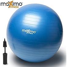 Ballon d'Exercice / Exercise Ball avec Pompe à Main par Maximo Fitness | Qualité Supérieure | Parfait pour l'Entrainement Visant la Stabilité, l'Entraînement de Noyau, l'Equilibre de Corps, le Pilates, CrossFit | Matériau PVC Antidérapant | 55cm.