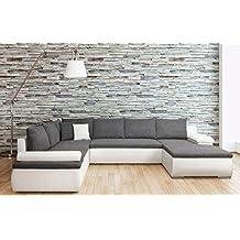 Sofá de esquina panorámica Convertible Cesaro U moderno y diseño