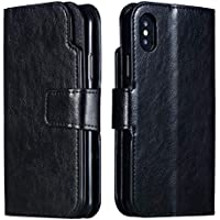 Handy hülle Tasche Leder Flip Case Brieftasche Etui Schutzhülle für Apple iPhone X XS/XR/XS MAX/5G 5S ES/6G 6s/6 Plus/7G 8G /7Plus /8Plus hülle,5 Farben