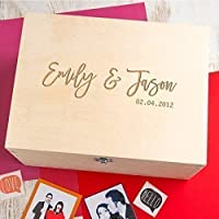 Wooden Personalised Keepsake Box/Couples Gifts Memory Box/Wedding Anniversary Gift/Engagement Gifts for Couples