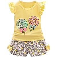 ❥Elecenty 2PCS Bekleidungssets Prinzessin Mädchenkleidung Outfit Set Lutschbonbon-T-Shirt Tops Hemd +kurze Bowknot Hosen Sommer-Outfit Kleidung Rüschen Tracksuit Hoodie Pullover