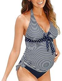 XXYsm Umstands Tankini Umstandsbadeanzug Schwangerschafts Bademode Polka Dots Maternity Damen Bikini