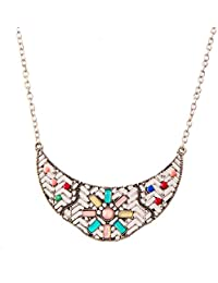 IGP Bohemian Style Multi Colored Stone Studded Metallic Silver Choker Fashion Necklace For Women And Girls