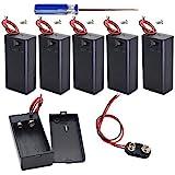 GTIWUNG Caja de batería de 9V Caja de Almacenamiento de batería de plástico con Interruptor de Encendido/Apagado y Conector C