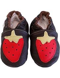 """""""Fraise Melba"""" de BBKDOM- Chaussons bébé et enfant en cuir souple de qualité supérieure Fabrication Européenne de 0-5 ans"""