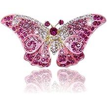 Ever Faith cristalli Swarovski Farfalla Art Deco spilla - viola-Argento-ton A05064-5 - Bambino Epoca Spilla Gioiello