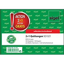 Sigel T1178 Quittungsblock wie SD021: A6 quer, 2x40 Blatt, selbstdurchschreibend, 3er Pack