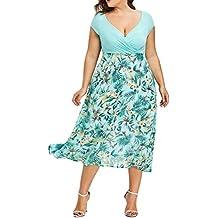 Vestidos de noche largos de tallas grandes Mujer (XL-5XL), LILICAT ® hasta la rodilla y elegante vestido de fiesta de gasa de manga corta en la noche, ...