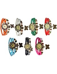RTimes Designer Vintage Leather Set of 7 Multicolor Bracelet Butterfly Watch for Girls, Women