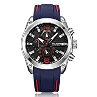 MEGIR 2063 Multifunctional Luminous Chronograph 3ATM Waterproof Men's Sports Watch with Silicone Strap Calendar Day Date