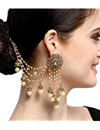 Aadita Bahubali Design Heavy Earrings with Hair Chain for Women DT-1735ER