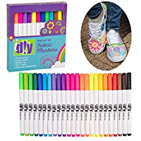 Fabric Markers Permanent Coloring DIY Paint Pens (24 Bright Colors) - Art Pens Kit w/Bullet Tip for Clothes & Fabric - Draws on Extra Bright, Fade Proof & Non-Toxic