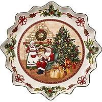 Villeroy & Boch Toy's Fantasy Plato Hondo para pastas Casa de Papá Noel, 39 cm, Porcelana Premium, Verde/Rojo/Blanco