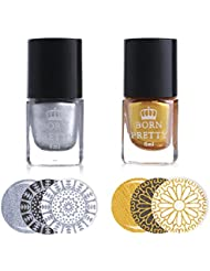 Born Pretty 2 Bottles Nail Art Stamping Polish Pure Silver Gold Manicure Image Template Print Lacquer Varnish