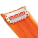 "20"" Clip in Hair Extensions HIGHLIGHTS Orange Straight 8 x 1 pcs 50g"