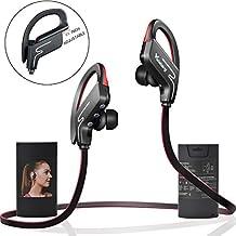 Cuffie Bluetooth Vodabang IPX4 Sweatproof wireless sport auricolari con controllo del volume MIC per palestra in esecuzione allenamento 8 ore di rumore della batteria cancellazione nero-rosso