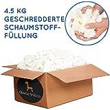 4.5 kg Schaumstoffflocken Füllmaterial - Ideal zum Füllen von Sitzsäcken, Kissen, Hunde & Katzen Betten und Plüschtiere - Schaumstoff Flocken für Bean Bags Kissenfüllung & Teddyfüllung