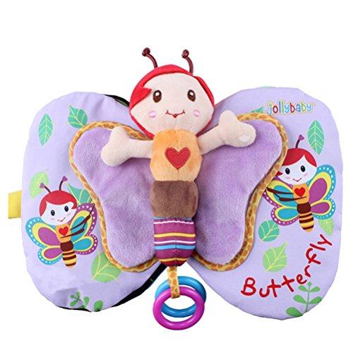 Quner Spielbuch Baby, Schmetterlingsflügel-kognitives Stoffbuch, Waschbare Tragbares Weiches Tuch-Buch Früherziehungstuch für mehr als 6 Monate (Lila, 15*15 cm / 5.91*5.91 Zoll)