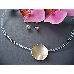 Silberschale mit Perle & Ohrstecker 925/00 Silber