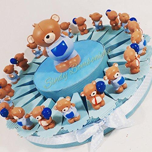 Torta bomboniere orsetto assortito portafoto spedizione inclusa bimbo compleanno battesimo * (torta da 20 fette)